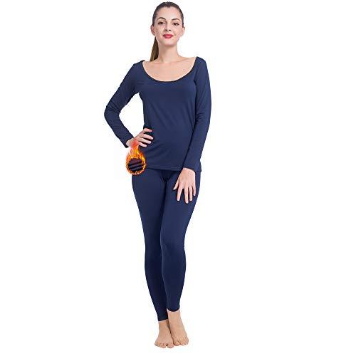 MANCYFIT - Conjunto de ropa interior térmica para mujer con forro polar ultra suave y cuello de ballet, Azul, XXXL