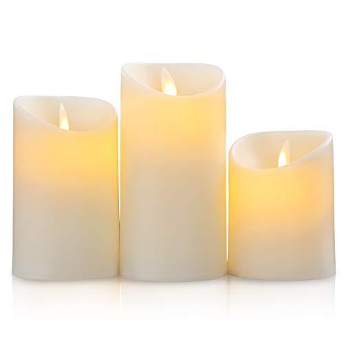 SALCAR LED Kerzenlicht 3 Set, 3AAA batteriebetriebenes LED Kerzen Flackernd, 15 cm, 12,5 cm, 10 cm Höhe, dekoratives Kerzenlicht für Abendessen, Geburtstag, Weihnachtsfeier