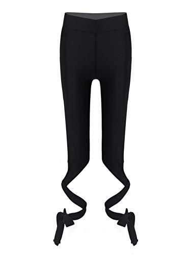 CHICTRY Mädchen Camouflage Hose 3/4 Sporthose Caprihose Leggings Gymnastik Turnhose mit Schnürung Kurze Trainingshose Gr. 110-164 Schwarz 134-140