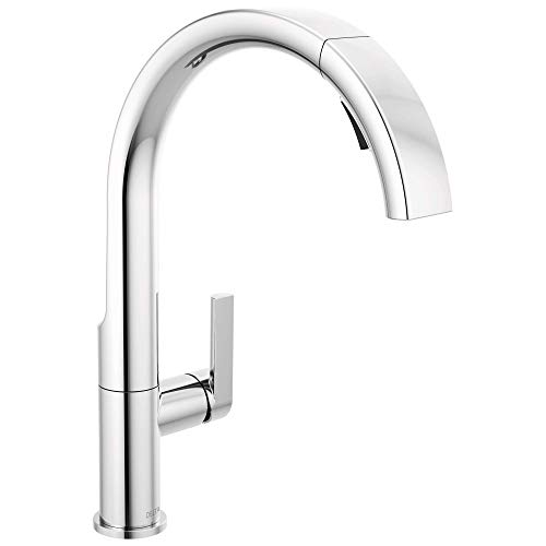 DELTA Keele Chrome Kitchen Faucet with Pull Down Sprayer, Kitchen Sink Faucet, Faucets for Kitchen Sinks, Single-Handle, Magnetic Docking Spray Head, Chrome 19824LF