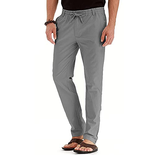 Men's Drawstring Fall Beach Loose Trousers Linen Pants with Elastic Waistband Comfy Business Casual Dress Pants Men Gray