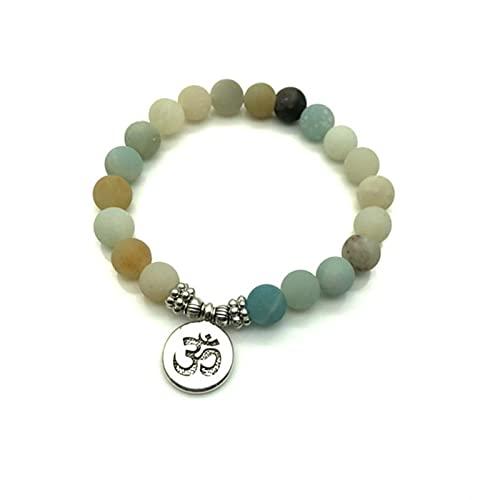 SONGK Pulsera de Mujer de Moda Cuentas esmeriladas Mate con Lotus OM Buddha Charm Yoga Pulsera Collar