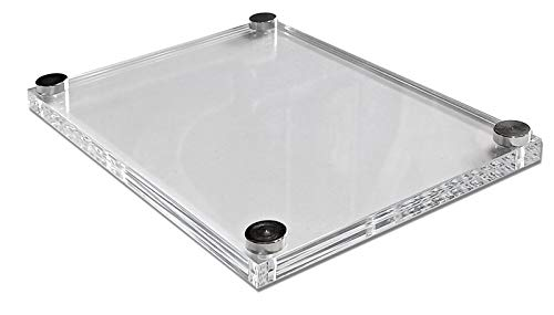 Doble Placa de Metacrilato Transparente Para Foto de 15x20 cm Marco de Acrílico Con Embellecedores Metalicos (24X19 CM, TRANSPARENTE 3+3 MM)