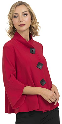 Joseph Ribkoff Womens Jacquard Jacket - Red - 18