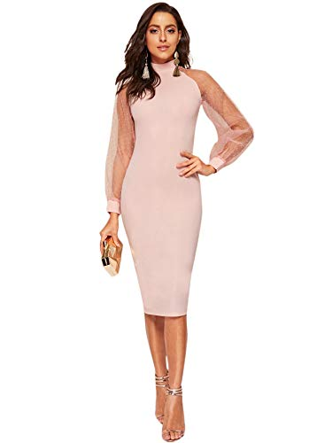 Romwe Women's Mock Neck Long Mesh Sleeve Zipper Back Sheath Dress Pink X-Large