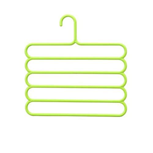 FastDirect - Appendiabiti a 5 strati per sciarpe, multistrato, per sciarpe, cravatte, antiscivolo, multifunzione, per uso domestico, colore: Verde chiaro