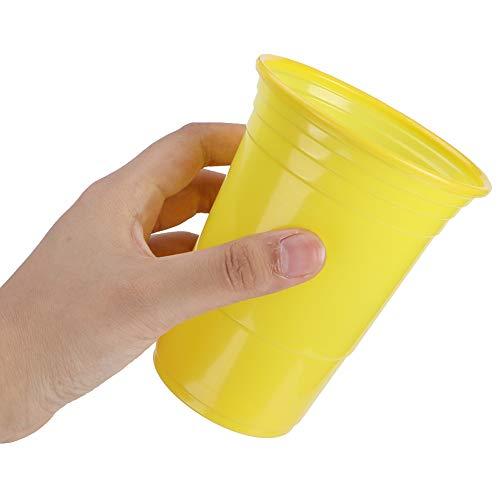 03 Conveniente Taza de Bar, Tazas, Viaje desechable de 450 ml para Barbacoa(Pure Yellow, 450ml)