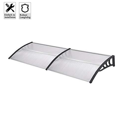 Froadp 200x100cm Pultvordach Vordach Türdach Sonnenschutz Pultbogenvordach Vordach Regenschutz Überdachung(Schwarz)