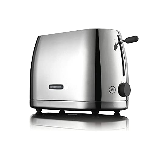 Stainless Steel Toaster,with Polished Trim Toaster,6-Speed Double-Sided Baking,Removable Crumb Tray,900W