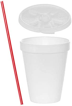 100 Sets 12 oz White Foam Cups with Lift n Lock Lids and Stirrers Disposable Foam Drink Cups product image