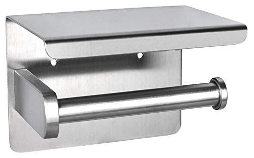 ZHANMAGS Adhesivo del tenedor del papel higiénico con el estante, tenedor del rollo del tejido ninguna perforación montado en la pared con los tornillos SUS 304 acero inoxidable 0712