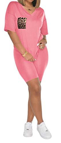 Ekaliy Two Piece Outfits for Women Cute Sweat Suits Romper Loungewear Pink M