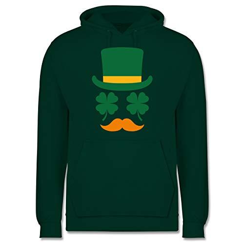 St. Patricks Day - Irisches Gesicht mit Kleeblättern - XL - Dunkelgrün - Statement - JH001 - Herren Hoodie und Kapuzenpullover für Männer