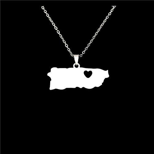 WYDSFWL Collar Collar de Acero Inoxidable Puerto Rico con Mapa de corazón Collares Pendientes para Mujeres Joyas llamativas Collar de Regalo puertorriqueño Collar