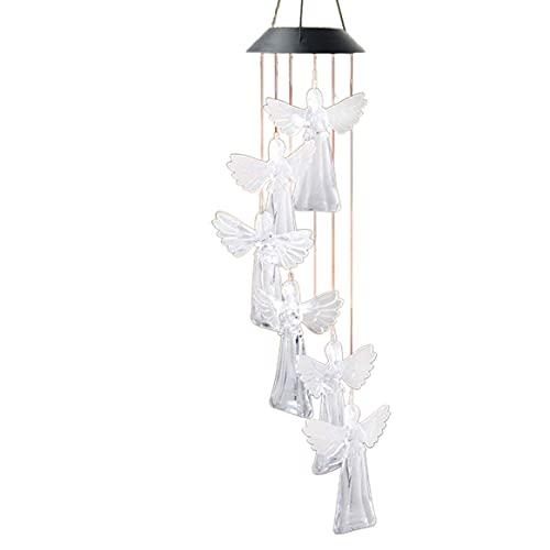 Lámpara de carillón de viento solar, carillón de viento solar de ángel, luz de jardín, decoración al aire libre, sensor de control de luz colgante, carillón de viento duradero