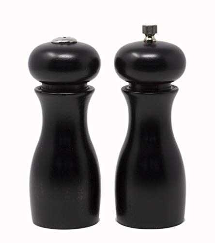 "Olde Thompson 6"" Caffe Wood Pepper Mill and Salt Shaker Set"
