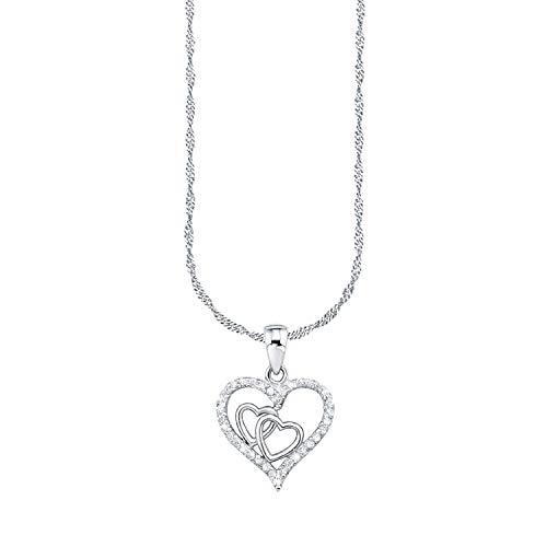 Amor Kette mit Anhänger für Damen, Sterling Silber 925, Zirkonia Herz