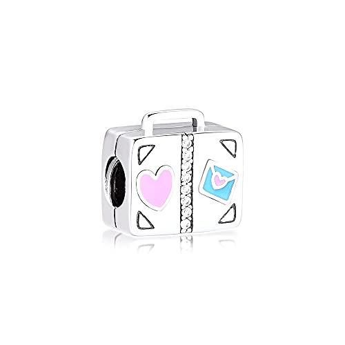LIIHVYI Pandora Charms para Mujeres Cuentas Plata De Ley 925 Maleta De Viaje Metal Girls Fashion Jewelry Compatible con Pulseras Europeos Collars