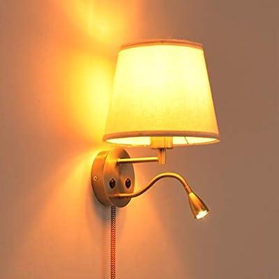 ✅ 【Lámpara de noche de pared 2 en 1】: La lámpara de pared de lectura LED de noche ofrece dos interruptores independientes, una lámpara de lectura LED de control, una lámpara de noche de tela de control, puede elegir el que más le guste, diseño tradic...