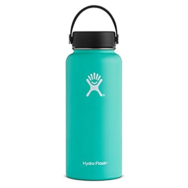 Hydro Flask 32 oz Double Wall Vacuum Insulated Stainless Steel Leak Proof Sports Water Bottle, Wide Mouth with BPA Free Flex Cap, Mint