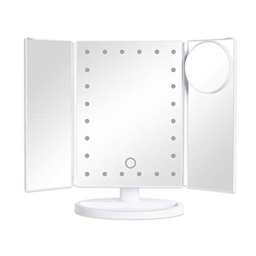 Bemelux Makeup Vanity Mirror with Lights, 1x 2 x 3X Magnification Touch Screen Switch Dimming 24 LED Dual Power Supply Compact Cosmetic Trifold Illuminated Mirror with Lock Suction 10x Magnifier