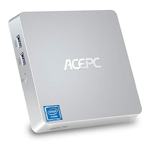 ACEPC T11 Mini-PC, 8 GB DDR3, 128 GB eMMC, Windows 10 Pro Mini-Desktop-Computer mit Intel Atom Z8350-Prozessor, Unterstützung für Dual-Display, 4K HD, Bluetooth 4.2, Gigabit-LAN, Dual-Band-WLAN