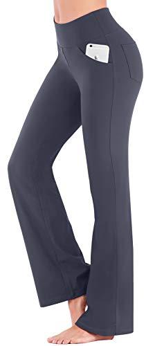 IUGA Bootcut Yoga Pants with Pockets for Women High Waist Workout Bootleg Pants Tummy Control, 4 Pockets Work Pants for Women, Gray, Medium