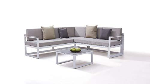 Garten Lounge Aluminium Gartenmöbel Sitzgruppe in Weiß - Naldo