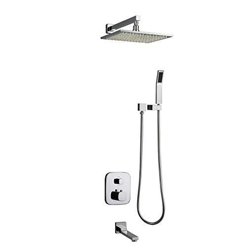 YAMMY - Termostato para cuarto de baño (LED, cromo, manguera antiescala, 3 unidades, 8 pulgadas)