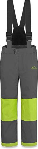 normani Kinder Thermohose Winterhose Skihose - Wasserdicht 11000 mm - für Jungen und Mädchen mit abnehmbaren Hosenträgern, verstärkten Knie- und Gesäßbereich Farbe Grau/Grün Größe 158
