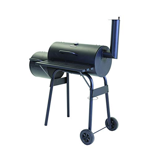 Charles Bentley Medium Charcoal BBQ with Offset Smoker Thermometer Gauge On The Lid Removable Ash Tray - 61 X 31cm