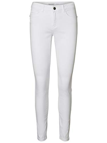 VERO MODA Damen Slim Fit Jeans Vmseven Normal Waist L32Bright White