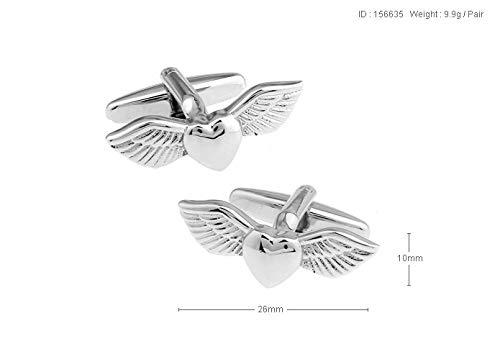 ESCYQ Manschettenknöpfe,Unisex Manschettenknöpfe Gott Amor Angel Wings Glatte Glänzende Metall Mode Einfach Manschettenknöpfe Manschetten Business Hochzeit Bräutigam Blazer Zubehör