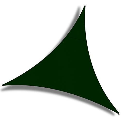 OKAWADACH Toldo Vela de Sombra Triangular 2 x 2 x 2m, protección Rayos UV Impermeable para Patio, Exteriores, Jardín, Color Verde Oscuro