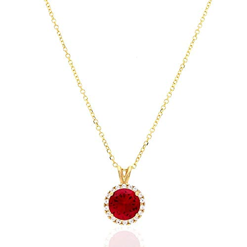 14k Yellow Gold White Gold CZ Halo Round Solitaire Birthstone Pendant 0.43', Ruby, Yellow Gold