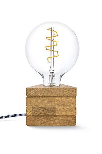 KERBHOLZ Lichtliebe Leuchte, B:114 mm x H:87 mm, dreieckige Holz Tischleuchte mit LED Retro Glühbirne, 1.5W, Tischlampe mit Edison retro industrial Glühbirne, Designleuchte aus Naturholz, Eiche