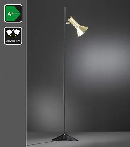 Lampadaire rétro avec abat-jour orientable en noir/doré et E27 - Lampe de lecture, éclairage sur pied en look industriel