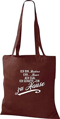 "Shirtstown - Bolsa de tela con mensaje ""Ich bin Mauhrer ehh..."", color Marrón, talla 38 cm x 42 cm"
