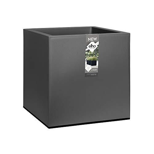 Elho Vivo Matt Finish Square Wheels 40 - Jardinera - Living Black - Interior & Exterior - L 39 x A 39 x A41 cm