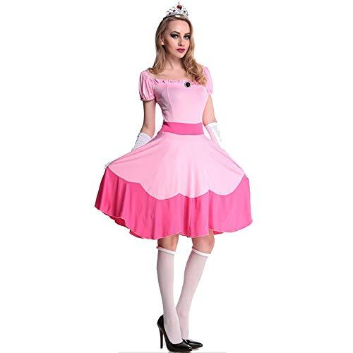 fagginakss Damen Prinzessin Peach Kostüm Cosplay Abendkleid Märchen Geschichte Gaming Outfit Rosa Anzug mit Handschuhe und Kopfschmuck
