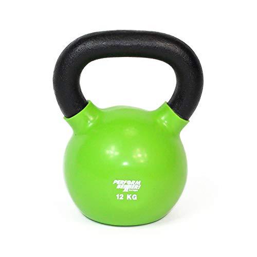 PERFORMBETTER+ Kettlebell 12kg, grün – Kugelhantel aus Gusseisen mit Vinyl-Ummantelung, freies Gewichtstraining/Kraft-Ausdauer