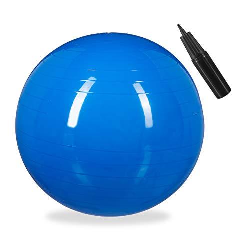 Relaxdays Palla da Ginnastica, Fitnessball Yoga & Pilates, Seduta Ufficio, Strumenti Palestra con Pompa, Ø 65cm, blu