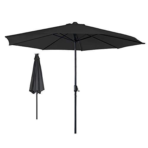 Aufun Alu Sonnenschirm mit Kurbel, Ø 350 cm, UV Schutz UPF 40+ Wasserabweisende Gartenschirm Marktschirm Terrassenschirm Sonnenschutz- Dunkelgrau
