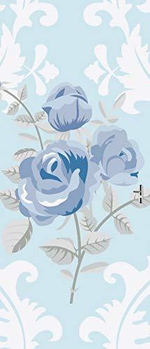 A.Monamour Pegatinas Decorativas de Puerta Autoadhesivo 3D Flores Rosas Azules Clásicas Fondo Floral Vintage Vinilo para Puertas Mural PVC Pegatinas de Pared Foto Poster 90x200cm