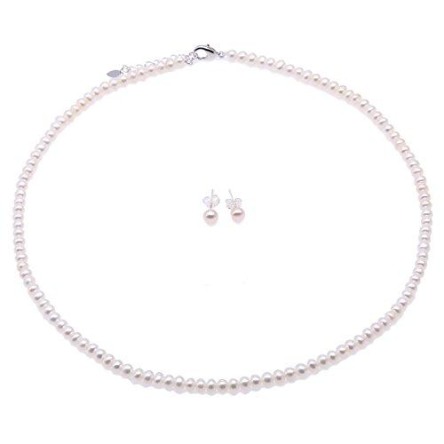 JYX - Set di gioielli di perle coltivate fili - Set di orecchini e collana di perle bianche piccole dimensioni 4,5-5,5 mm per le donne