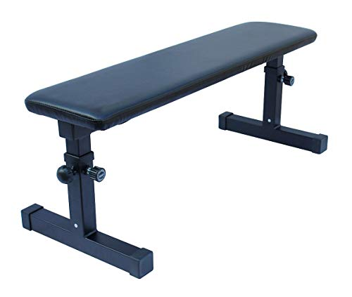 KLB Sport Height Adjustable Utility Flat Weight Bench (Black)