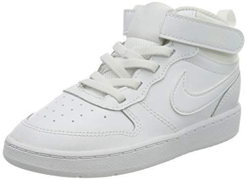 Nike Court Borough Mid 2 (TDV), Scarpe da Basket, White/White-White, 22 EU