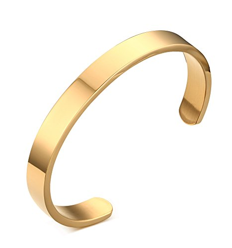 Mealguet Jewelry Stainless Steel Plain Polished Finish Cuff Bangle Bracelets for Men Women, 8mm,Gold Plated/Black/ Gold