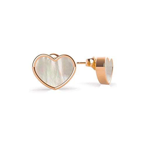 GUESS Sea Gift Mother Of Pearl Rose-Gold Heart Stud Earrings UBE79020