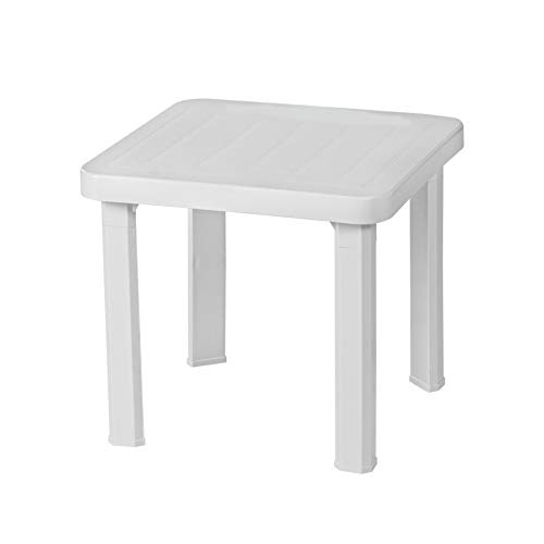 Resol Andorra Garden Patio Side Table - UV Resistant Outdoor Furniture - White - 47 x 47cm